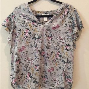Floral and bird patterned blouse